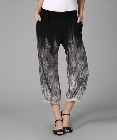 Another great find on #zulily! Black & Gray Tie-Dye Capri Harem Pants - Plus #zulilyfinds