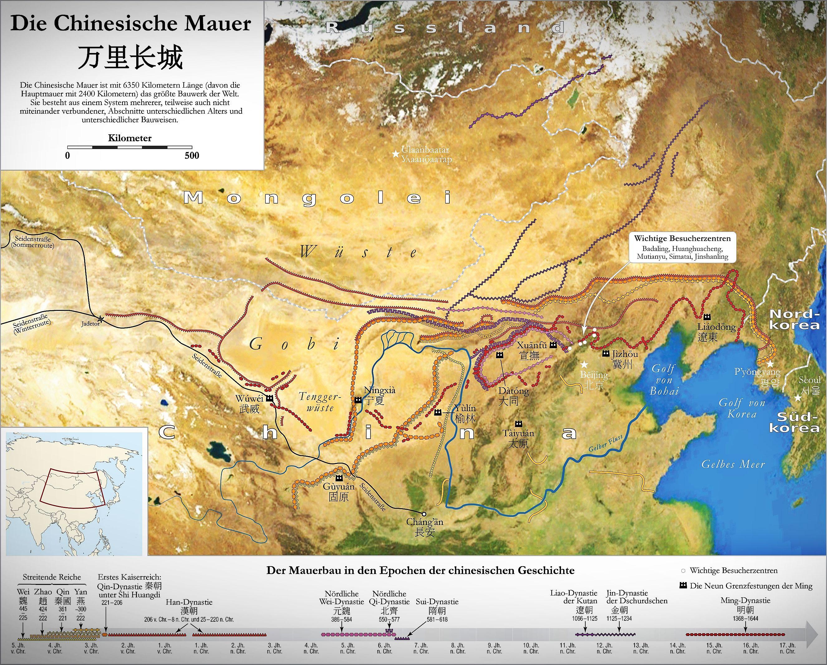 Die Chinesische Mauer Ist Ein System Historischer Grenzbefestigung