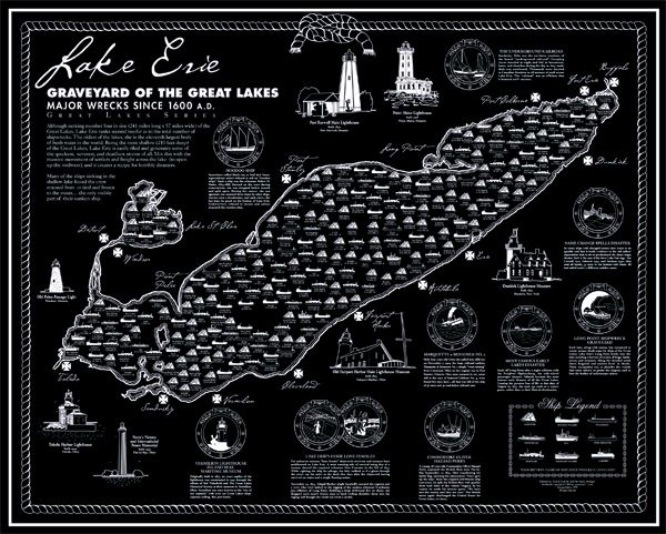 Shipwreck Map Lake Erie | Great lakes shipwrecks, Lake erie ... on map of the arctic, map of the staten island ferry, map of the new jersey, map of the weather, map of the great lakes ports, map of the hurricane, map of the north carolina,