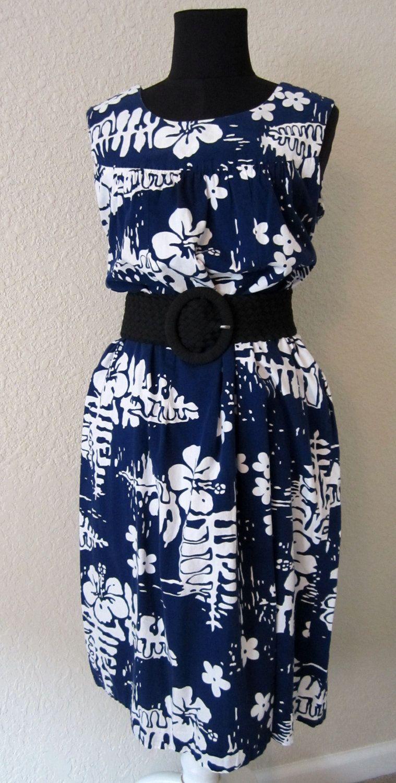 7b783319a2e Hawaiian Mu umu u Mumu Moo Moo Dress Navy White Monstera Palm Leaf Hibiscus  Aloha.  34.00