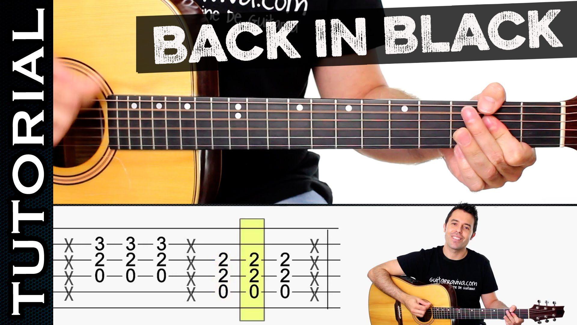 Como Tocar Back In Black En Guitarra Acústica Tutorial Completo Guitarras Guitarra Acustica Canciones De Guitarra