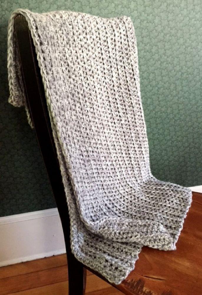 CROCHET BULKY handmade afghan blanket throw adult child acrylic wool GREY MARBLE #handmade #homespun