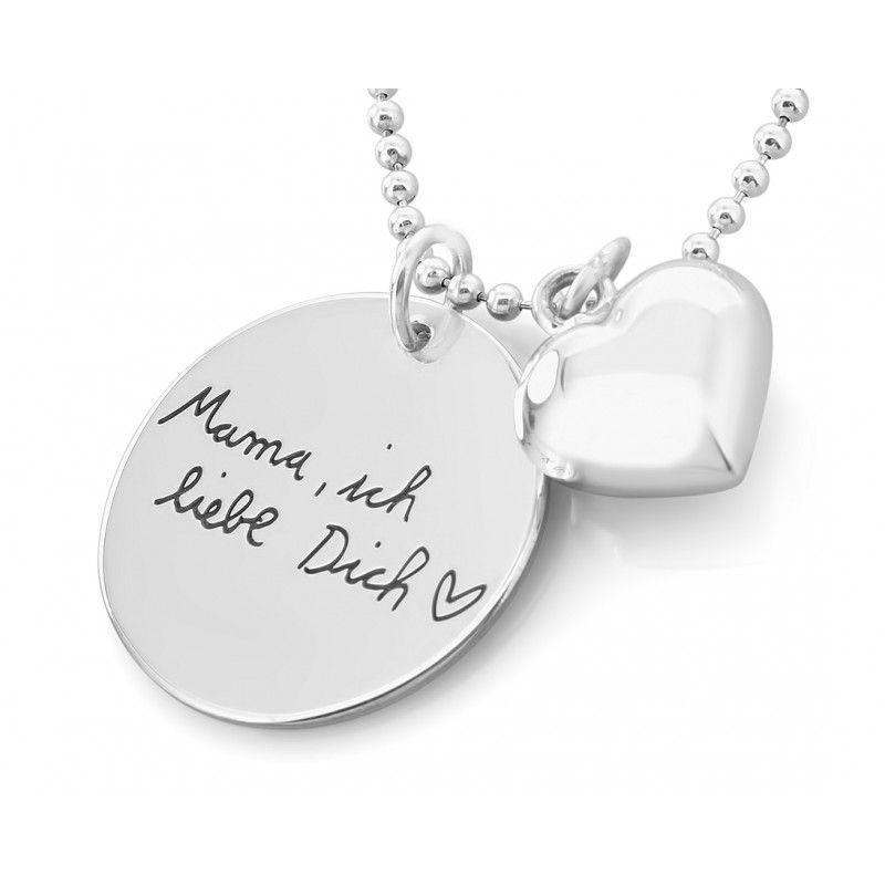 Damen Herz Anhänger Herzkette silber Herz inkl Wunschgravur Bild Text Gravur