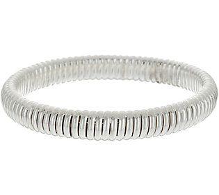 Sterling Silver Ribbed Slip-on Bangle Bracelet by Silver Style