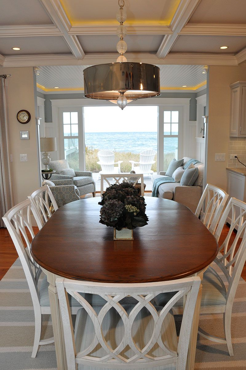 Coastal Beach Style Dining Set Love The Table And Chairs And That Ocean View Yup Only If I Had That To Look Out Onto Each With Images Beach House Dining Room