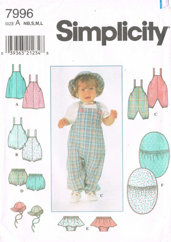 Sewing Pattern 1990s Simplicity 7996 Newborn Infant | New born - 1 ...