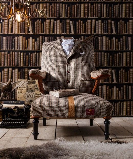 The Dapper Tweed Armchair | Eclectic Furniture Online Store   Bespoke  Handcrafted Furniture   Rhubarb London