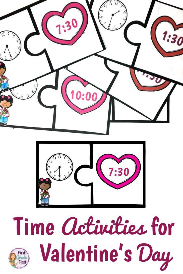 valentine 39 s activities for math instruction telling time puzzles and worksheets math. Black Bedroom Furniture Sets. Home Design Ideas