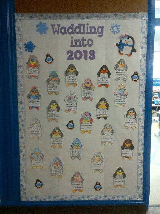 January bulletin board - New Year's resolutions | Classroom