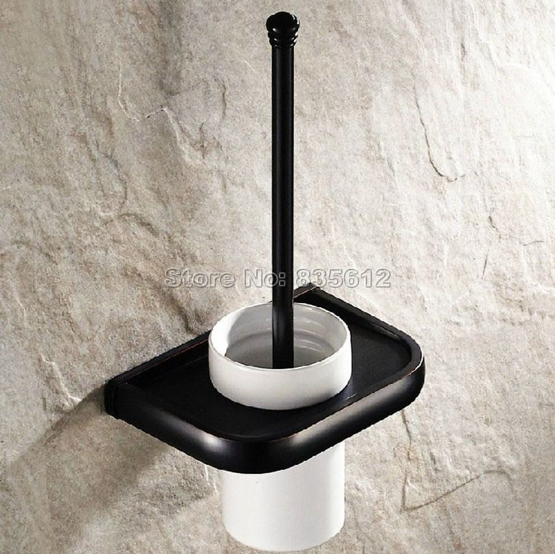 Black Oil Rubbed Bronze Wall Mounted Bathroom Ceramic Cup And Brass Toilet Brush Ho Brass Bathroom Accessories Toilet Brush Holders Bronze Bathroom Accessories
