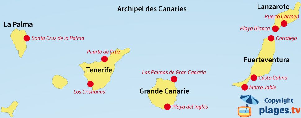 Carte des stations balnéaires et des plages des Canaries | Les