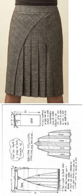 2ae2118bd Falda tablas   patrones   Coser falda, Patrones de costura y Moldes ...