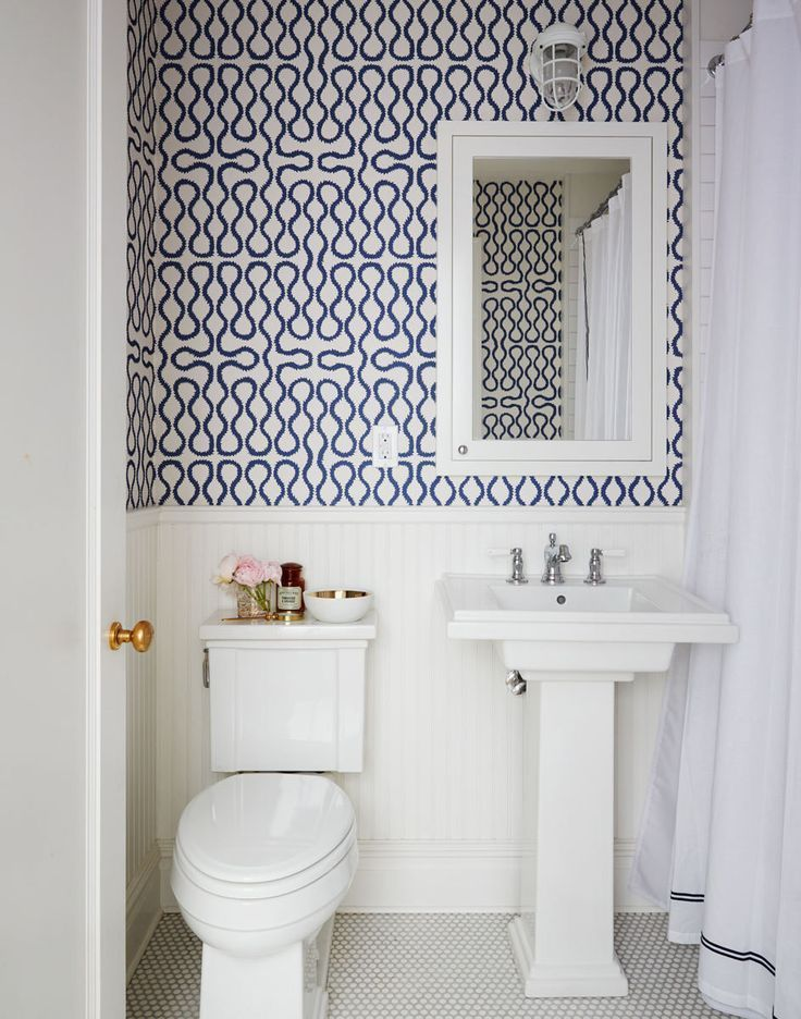 A Brooklyn Townhouse By Nicole Gibbons Wallpaper Powder RoomsBathroom WallpaperFish WallpaperBold WallpaperGeometric WallpaperWallpaper IdeasBlue