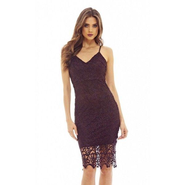 17104f5b1f AX Paris V Neck Crochet Midi Dress (d649 Plum) (£50) ❤ liked on Polyvore  featuring dresses