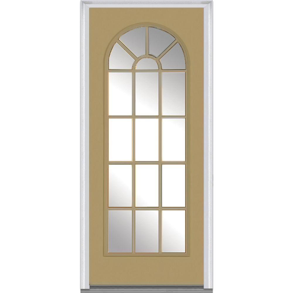 MMI Door 36 in. x 80 in. Left-Hand Inswing Full Lite Round T…
