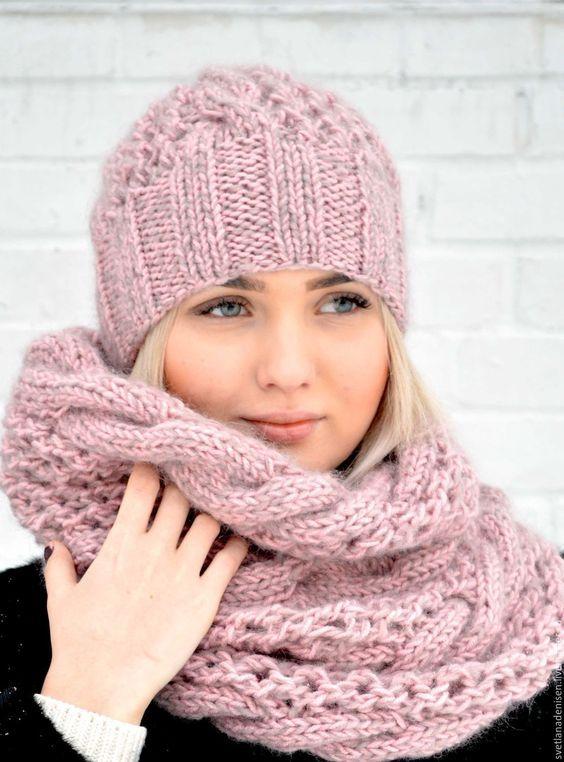 8b3f15a7 Купить Комплект вязаный «Розовая пудра»,шапка и снуд - розовый, шапка  вязаная, шапка женская