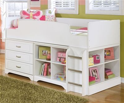 Ashley Furniture Lulu Loft Bed With Dresser And Bookcase Kids Loft Bed With Storage In White