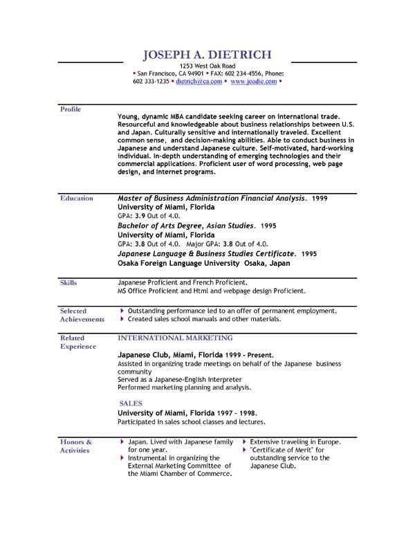 Student Internship Resume Format Download \u2013 creerpro