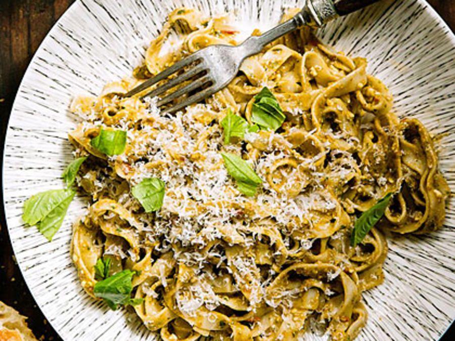 Almond Pesto Pasta Recipe Pesto pasta recipes, Pesto