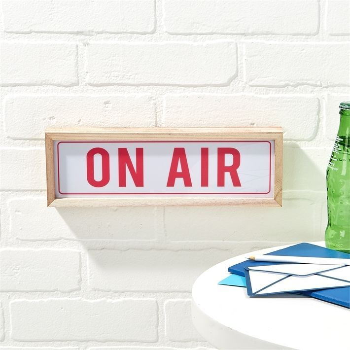ON AIR - Radio Broadcast Lighted LED Wall Sign - Wood Frame 11-3/4 ...