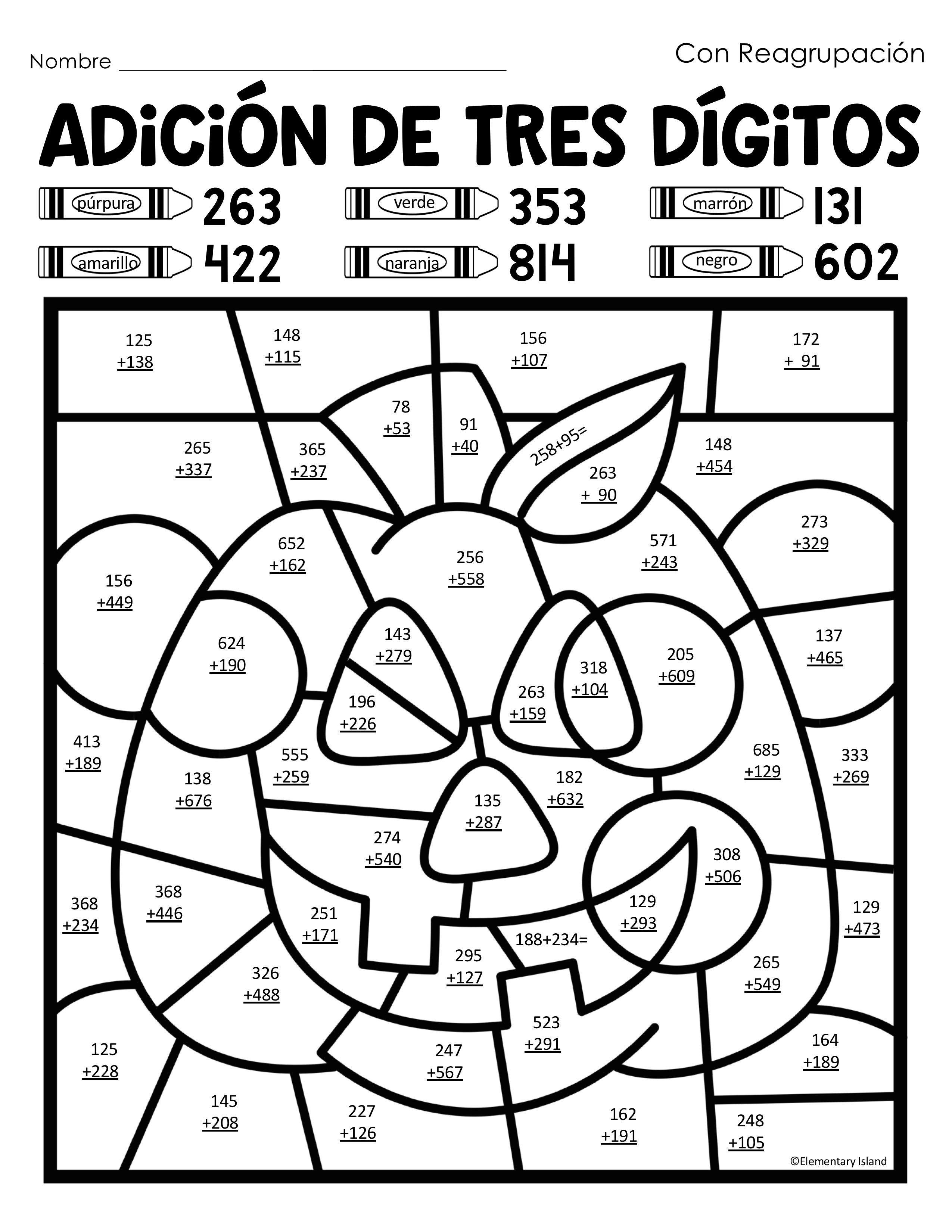 Adicion De Tres Digitos Color Por Codigo In Spanish
