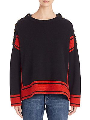 Alexander McQueen Cashmere Oversized High-Low Sweater - Black/Red - Si