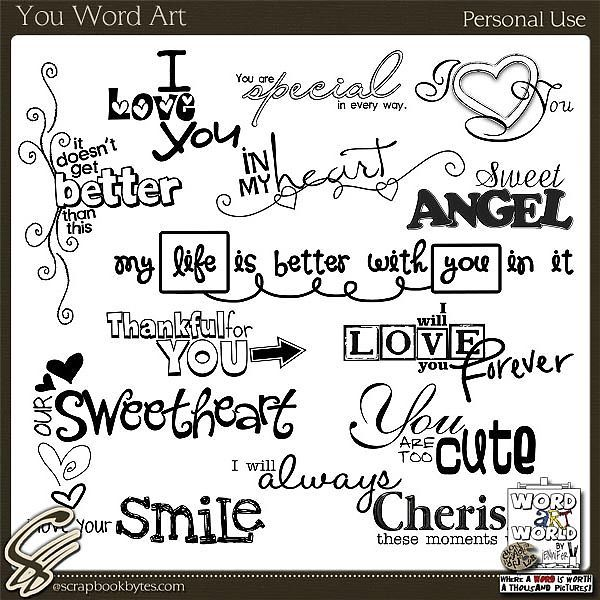 You Word Art Word Art Quotes Embellishments