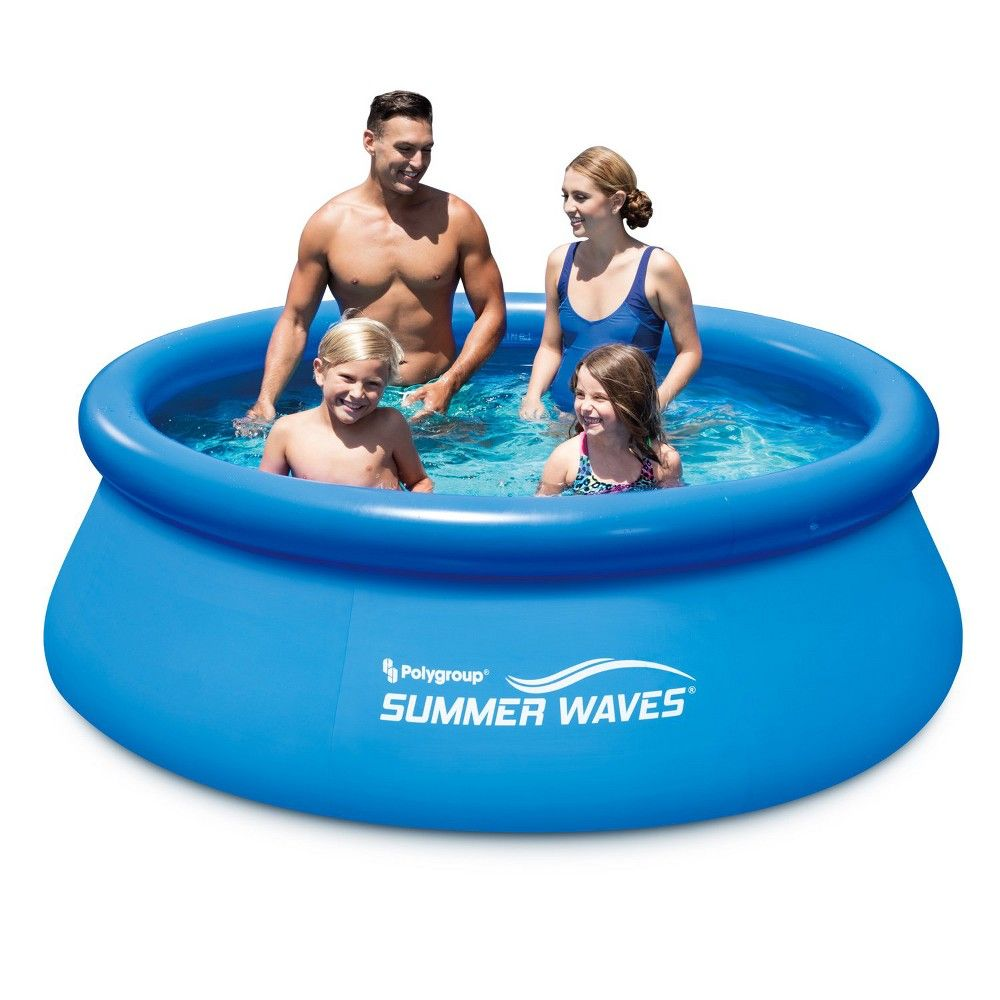 Quick Pool Zubehör Summer Waves 8 Ft Quick Set Inflatable Above Ground Pool With