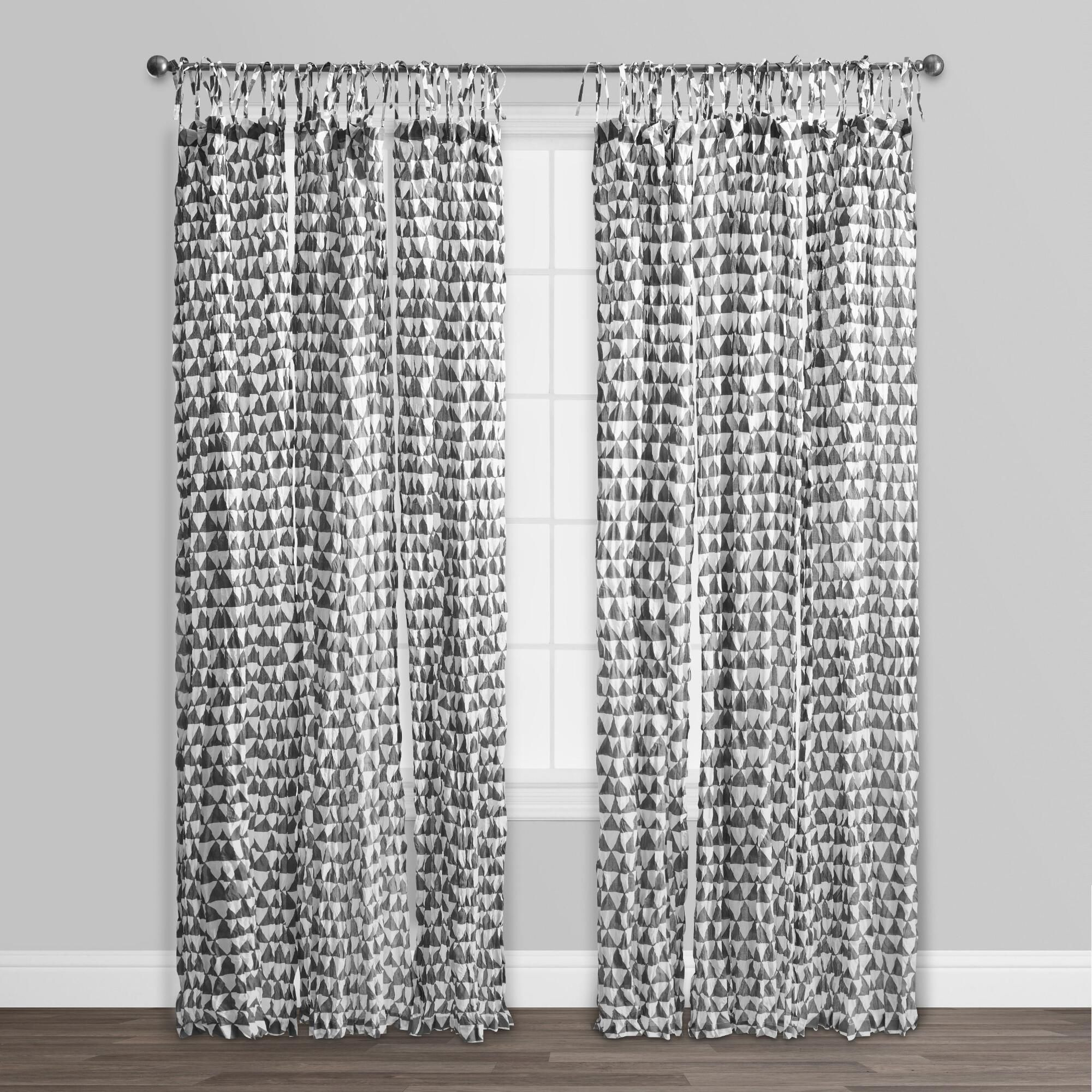 Gray And White Triangle Cotton Voile Curtains Set Of 2 World Market Voile Curtains Curtains Tie Top Curtains