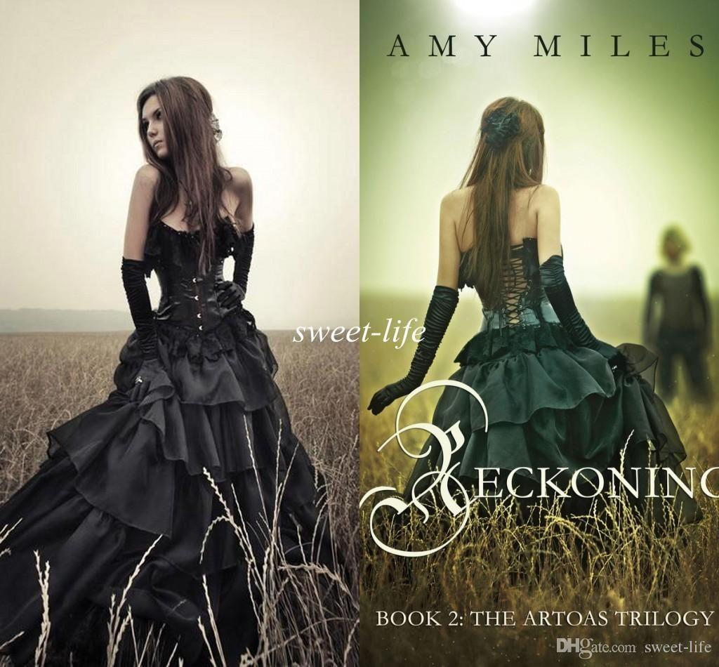 Black Gothic Wedding Dresses 2016 Strapless Corset Slim Tiers ...
