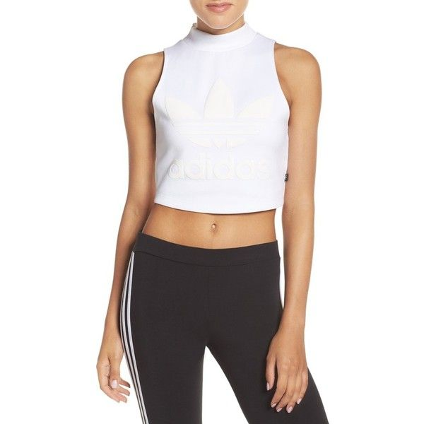 Women's Adidas Originals Crop Tank ($26) ❤ liked on Polyvore featuring white and adidas originals