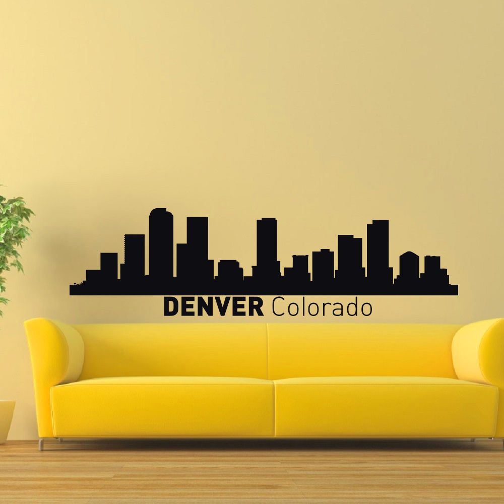 Denver Colorado Skyline City Silhouette Vinyl Wall Art Decal Sticker ...