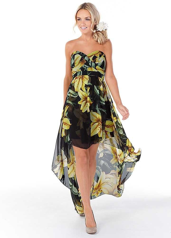 bb360bae1aeb Oli Black Floral Print Chiffon Dip Hem Maxi Dress
