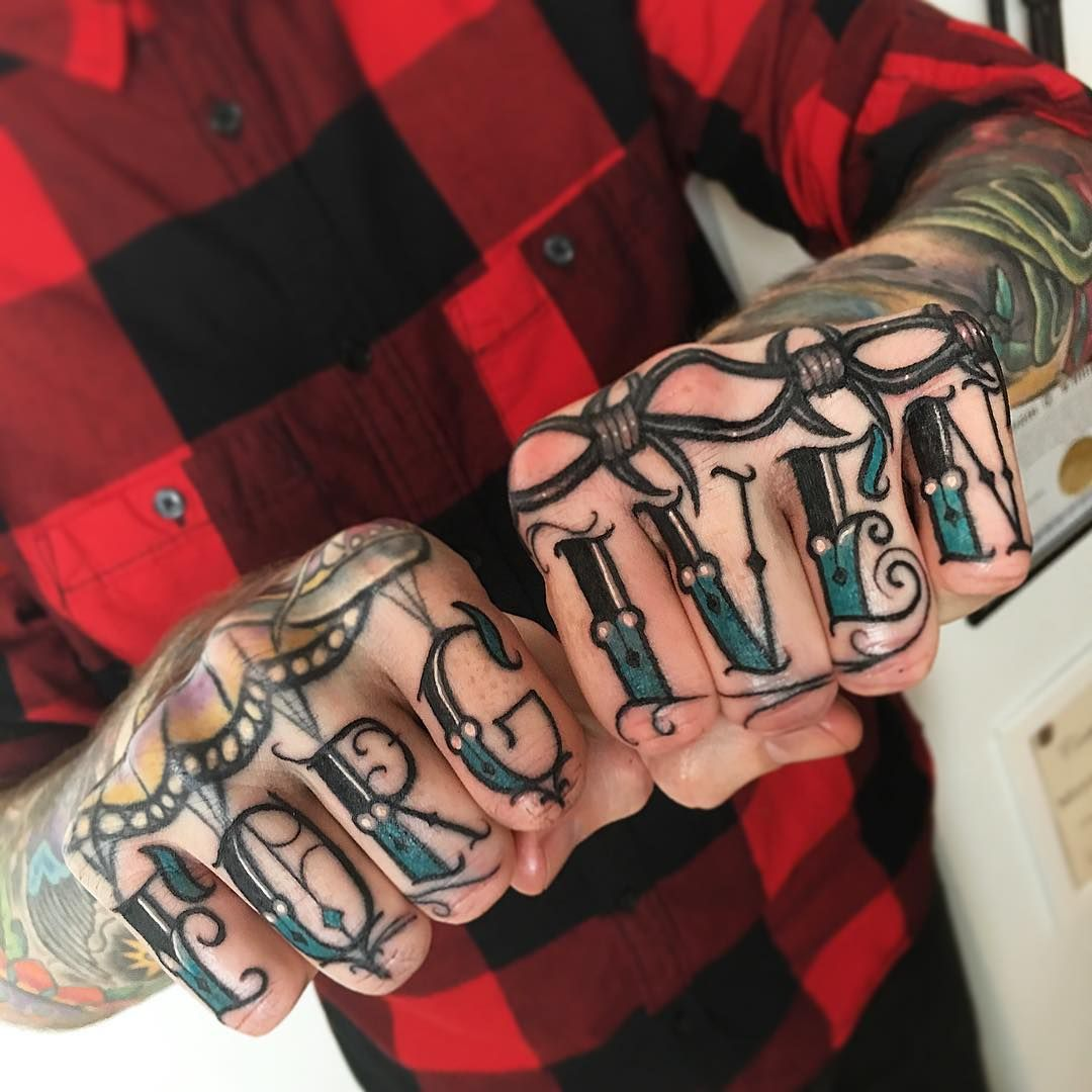 Knuckle Tattoo Fonts: Wonderful Forgiven Knuckle Tattoo -This Lettering