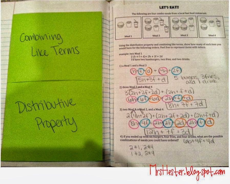 Combining like terms note sheet | Expressions and Equations