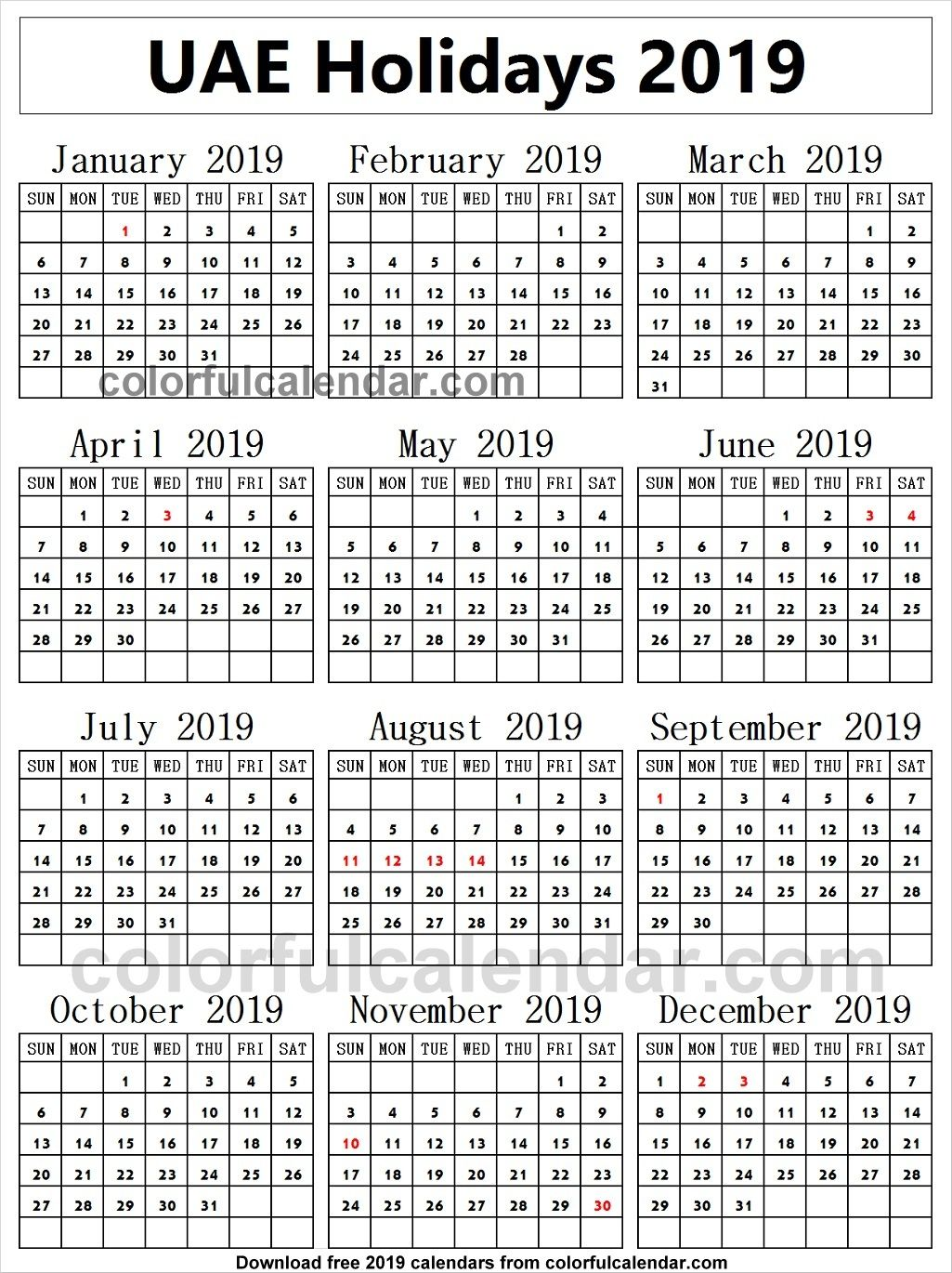 2019 School Holidays United Arab Emirates Calendar School