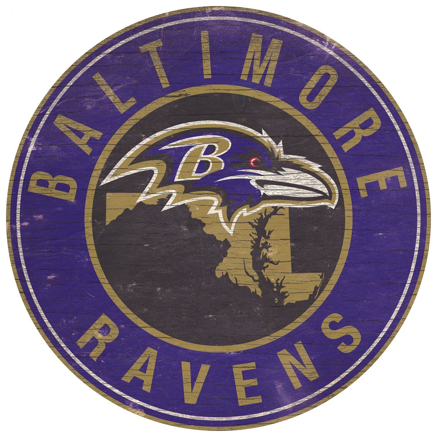"""Baltimore Ravens State with Logo 24"""" Round Sign"""