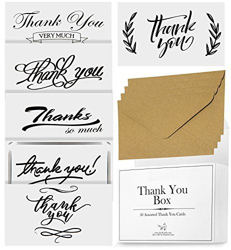 50 assorted thank you cards for weddings engagement party bridal