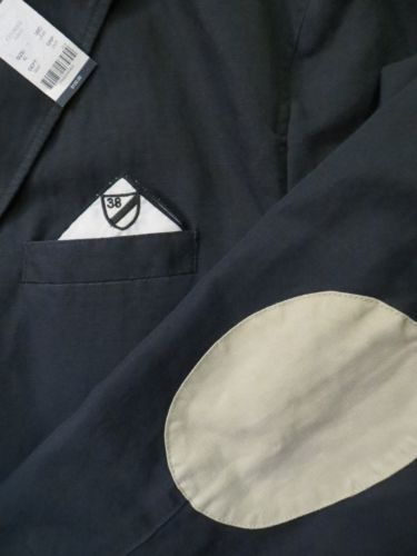 CREMIEUX Mens Hip Navy Blue Linen Sport Jacket Coat NEW $150 Shoulder Patches XL - NOW HALF PRICE