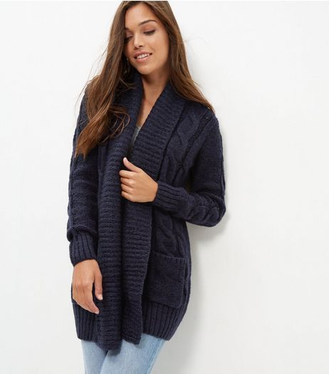 Navy Cable Knit Cardigan | New Look £24.99 25.8.16 | Stuff I Want ...