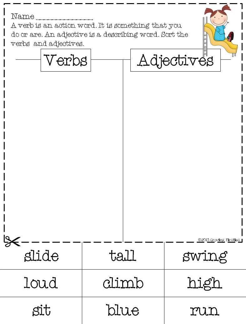 Verbs Vs Adjectives Common Core Ela Common Core Describing Words