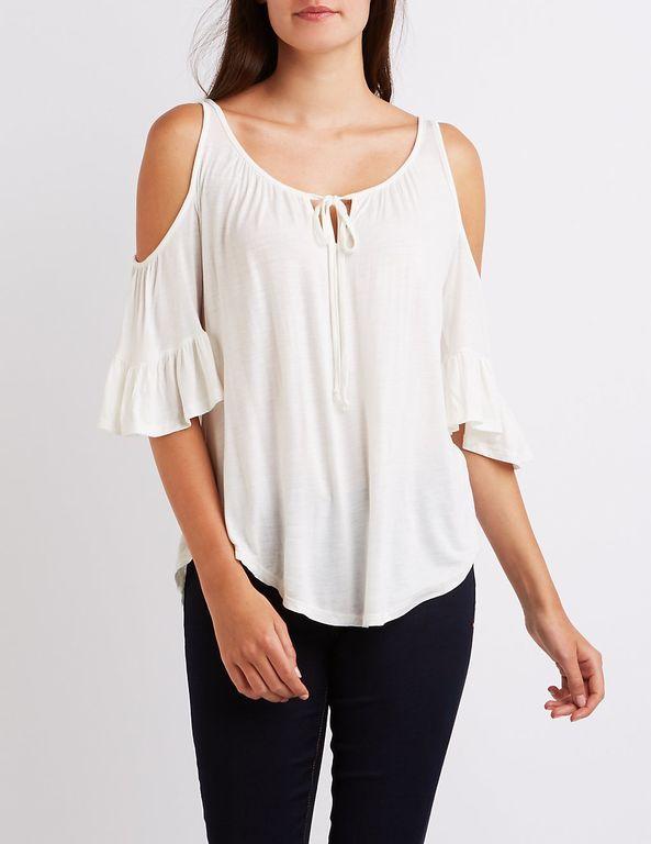 Ruffle-Trim Cold Shoulder Top | Blusas Modernas | Ropa, Vestidos y Moda