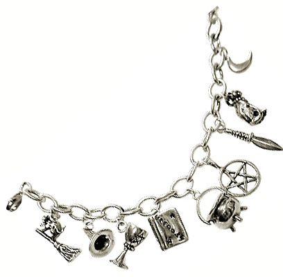 Sterling Silver Wiccan Pentagram Moon Charm Bracelet