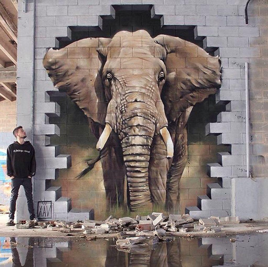 Street Art Graffiti Animal Character Wall