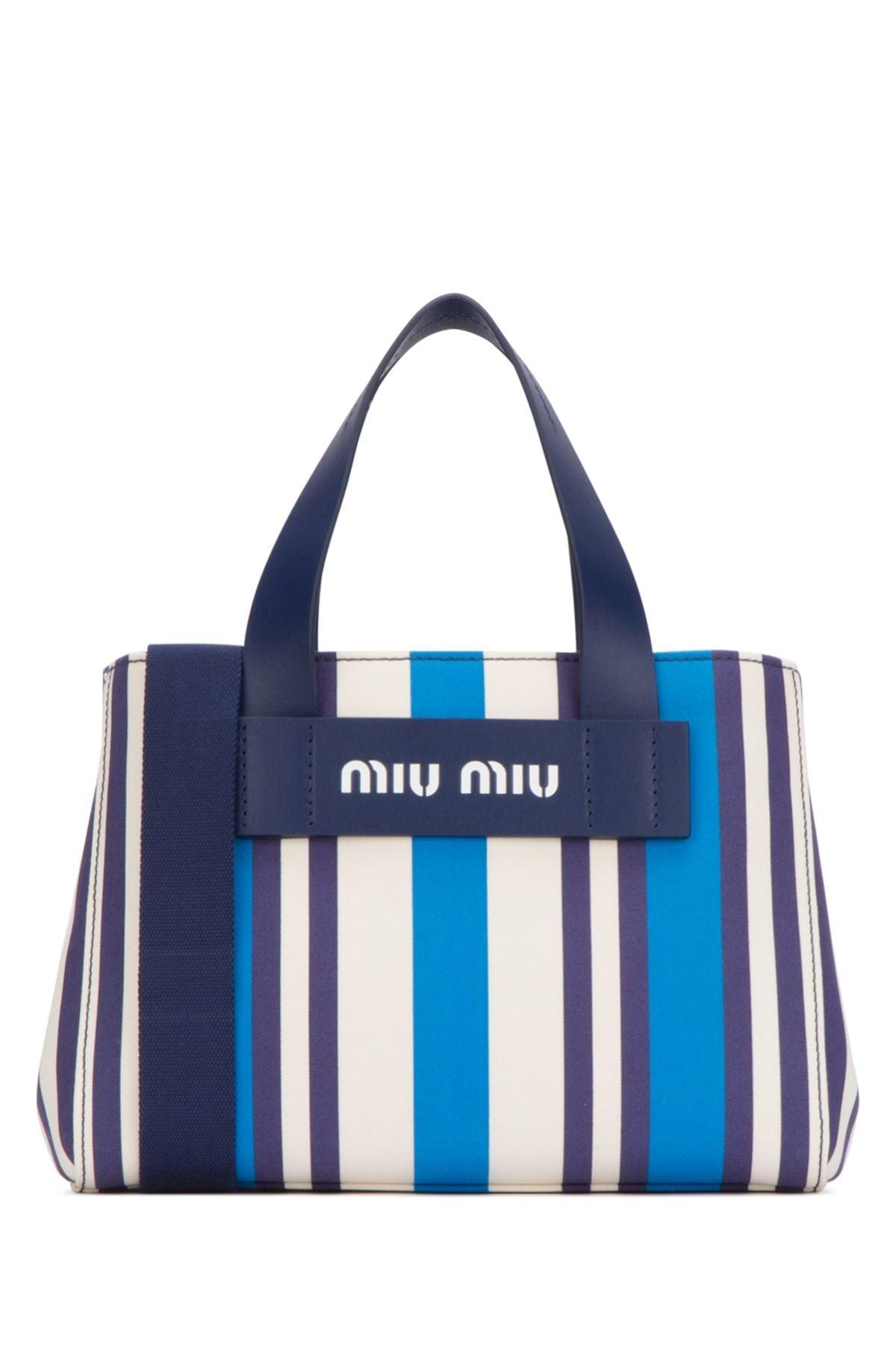 Miu Miu Miu Miu Striped Top Handle Carry Bag Miumiu