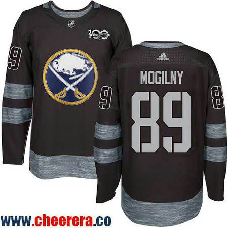 Men's Buffalo Sabres #89 Alexander Mogilny Black 100th Anniversary Stitched NHL 2017 adidas Hockey Jersey