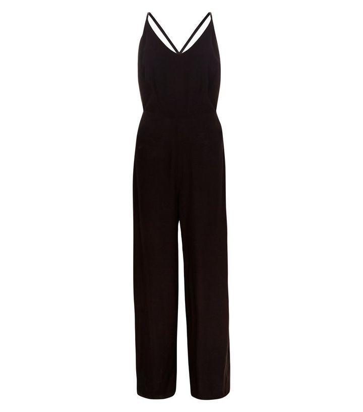 cf7453683cd New Look Black Strappy Wide Leg Jumpsuit Black Size UK 12 rrp 22.99 DH089  MM 19  fashion  clothing  shoes  accessories  womensclothing   jumpsuitsrompers ...