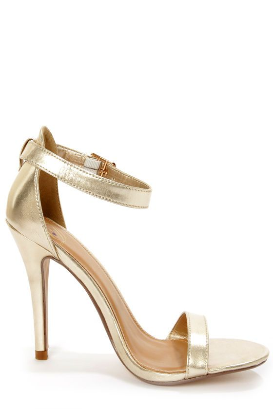 73f25c0d5a5 My Delicious Chacha Light Gold Metallic Single Strap High Heels at  LuLus.com! only  23.00!  lulus  holidaywear