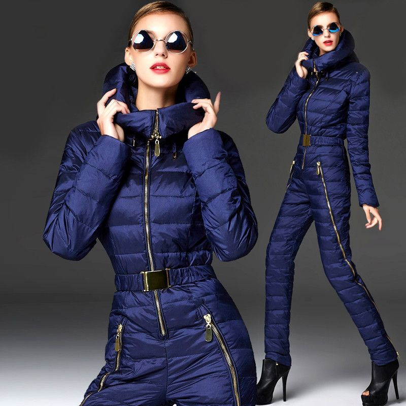 Winter warm Ski Suits women Russia One Piece jumpsuits for lady Snow Wear  Women s Down Coats Slim Bodysuit 1932999d07