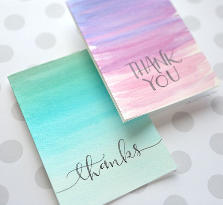 Easy Diy Thank You Cards Ombre Watercolor Creative Cards